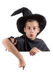 Teen boy in carnival costume wizard. Isolated on Royalty Free Stock Photography