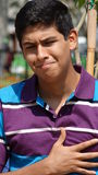 Teen Boy Chest Pain Or Sadness Stock Photography