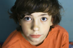 Teen boy close up portrait with big eyes Stock Image