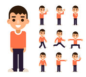 Teen Boy in Different Poses and Actions Characters Icons Set Isolated Flat Design Vector Illustration Stock Image