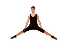 Teen boy doing exercise, playing sports Stock Photos
