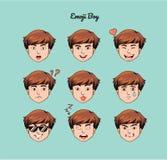 Teen boy emoji, smile icons set. Teen boy emoji emoji, smile icons set, , art, design, color Stock Image