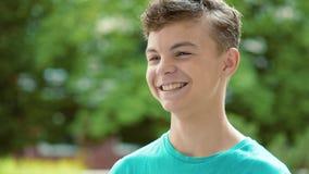Teen boy emotional portrait stock video