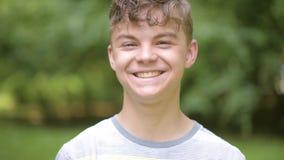 Teen boy emotional portrait stock footage