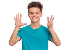 Free Teen Boy Emotions And Signs Stock Images - 177002684