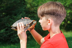 Teen boy face to face with turtle outdoor Stock Photo
