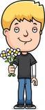 Teen Boy Flowers Stock Image