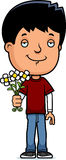 Teen Boy Flowers Royalty Free Stock Images