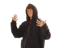 Teen boy gesturing to fight Royalty Free Stock Image