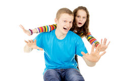 Teen boy and girl having fun Stock Photos