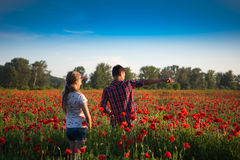 Teen boy and girl posing on the poppy field Stock Photography