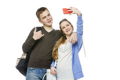 Teen boy and girl taking selfie photo Royalty Free Stock Photo