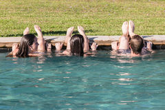 Teen Boy Girls Swim Pool Hangout Royalty Free Stock Photo