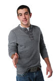 Teen boy greeting with his hand Stock Photography