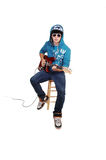 Teen boy with guitar. Royalty Free Stock Photography