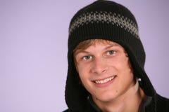 Teen boy in hat. Closeup of handsome teen boy in hat Stock Photo