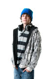 Teen boy with headphones Stock Photo