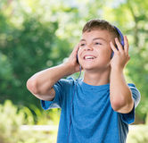 Teen boy with headphones Royalty Free Stock Photography