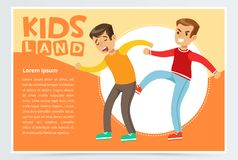 Teen boy kicking classmate, demonstration of school teenage bullying and aggression towards other child, kids land. Banner flat vector element for website or Royalty Free Stock Image