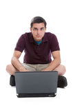 Teen boy with laptop Royalty Free Stock Image