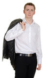 Teen boy with leather jacket over shoulder Royalty Free Stock Photos