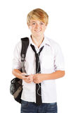 Teen boy listen to music Stock Photo