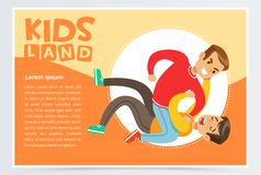 Teen boy lying on the floor being beaten by another boy, teenager kids quarreling, aggressive behavior, kids land banner Stock Images