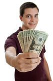 Teen boy with money Royalty Free Stock Images