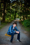 Teen boy outdoors Royalty Free Stock Images