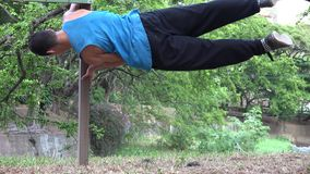 Teen Boy Parkour Stunts Strength And Balance stock video