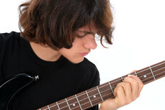 Teen Boy Playing Bass Guitar stock images