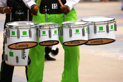 Teen Boy Playing Marching Drums Stock Image