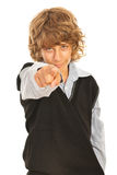 Teen boy pointing to you. Isolated on white background Royalty Free Stock Image
