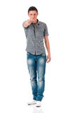 Teen boy pointing you. Teen boy pointing at camera choosing you, isolated on white background. Caucasian young man pointing finger to you Stock Photos