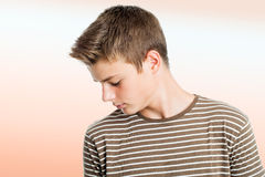 Teen boy practising concentration exercise. Stock Image
