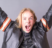Teen Boy Rocking Out in Leather Jacket Royalty Free Stock Photography