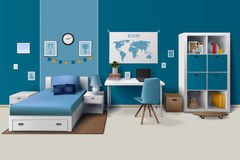 Teen Boy Room Interior Realistic Image. Teen boy room interior design with trendy workspace for homework cupboard and bed in blue realistic vector illustration Royalty Free Stock Photography