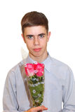 Teen Boy with Roses Stock Images