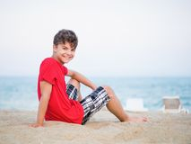 Teen boy on beach Royalty Free Stock Photo