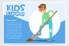 Teen boy with a shovel digging ground, eco concept, kids land banner flat vector element for website or mobile app. With sample text Royalty Free Stock Image