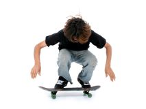 Teen Boy With Skateboard Over White Stock Photos