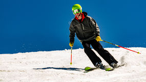 Teen Boy Skies Mammoth Mountain. Teenage boy skies expert black diamond trail at Mammoth Mountain in California Stock Photography