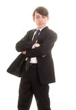 Teen boy in suit with serious pose Royalty Free Stock Images