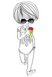 Teen-boy-sunglasses-snow-cone Royalty Free Stock Photo