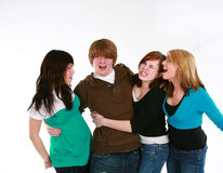 Teen boy with teen girls Stock Photos