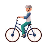 Teen boy, teenager riding urban bicycle, cycling in helmet Stock Photo