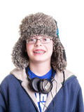 Teen Boy with Trapper Hat royalty free stock photography