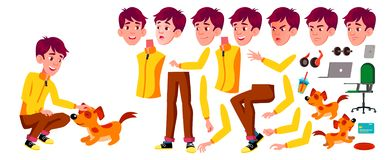 Teen Boy Vector. Animation Creation Set. Face Emotions, Gestures. Active, Expression. Animated. For Banner, Flyer. Brochure Design Isolated Illustration vector illustration