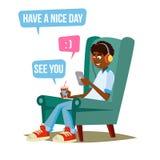 Teen Boy Vector. Young Teen Boy Smiling. Teens Chatting On Messenger. Flat Cartoon Illustration Royalty Free Stock Photo