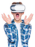 Teen boy in VR glasses Royalty Free Stock Photo
